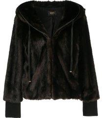 liu jo faux fur hooded jacket - brown