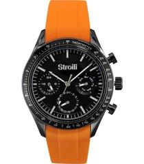 orologio multifunzione cinturino arancione in silicone e cassa in acciaio per uomo