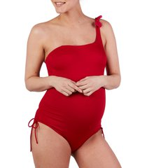 women's cache coeur dolce one-shoulder one-piece maternity swimsuit, size x-large - red