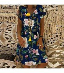 zanzea para mujer floral del verano de manga corta con cuello en v camisa ocasional floja mini vestido -azul marino