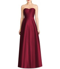 alfred sung strapless satin a-line gown, size 0 in burgundy at nordstrom