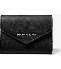 mk portafoglio a bustina medio in pelle a grana incrociata - nero (nero) - michael kors