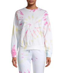 prince peter collection women's tie-dyed cotton sweatshirt - white - size s