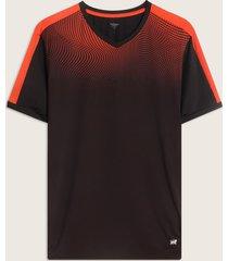 camiseta manga corta cuello v con sublimación en frente y corte en contraste-m