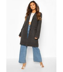 tailored wool look coat, charcoal