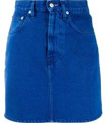 helmut lang high-rise denim mini skirt - blue