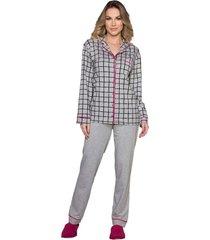 pijama vincullus manga longa com abertura frontal cinza