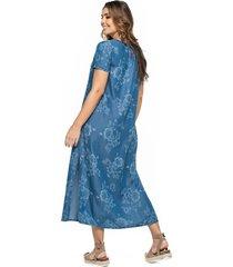 vestido largo en tencel estampado laser marca trucco's