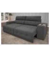 sofá abruzzo 2,50m assento retrátil e reclinável velosuede grafite - netsofas