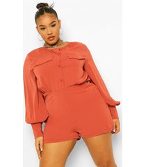 plus oversized romper blouse, wine
