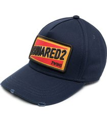 dsquared2 embroidered logo-patch six-panel cap - blue
