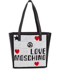 love moschino women's embroidered logo tote - black ivory