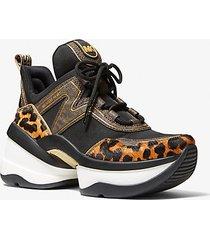 mk sneaker olympia in pelle effetto cavallino con logo - caramello (marrone) - michael kors