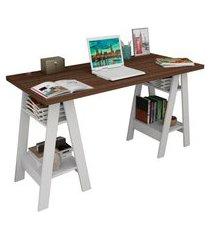 mesa de escritório self nogueira e branca