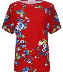 camiseta estampado floral color rojo, talla s