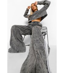 acid wash cropped tape hoodie & wide leg joggers, charcoal