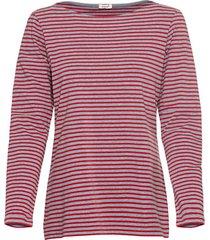 gestreept shirt van bio-katoen met lange mouw en boothals, grijs/ kers-gemêleerd 36