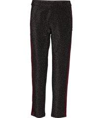 tapered lurex pants with velvet side panel pantalon met rechte pijpen zwart scotch & soda