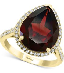 effy rhodolite garnet (8-5/8 ct. t.w.) & diamond (1/3 ct. t.w.) pear statement ring in 14k gold