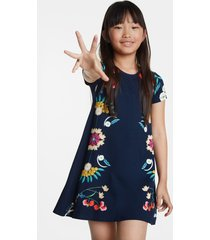 flowing floral t-shirt dress - blue - 13/14
