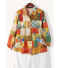 camicetta casual con bottoni e colletto con bavero patchwork stampa scozzese etnica