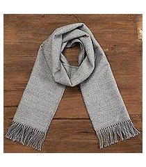 alpaca blend scarf, 'winter chic in smoke' (peru)