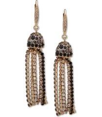 anne klein gold-tone ombre scattered stone crystal tassel earrings