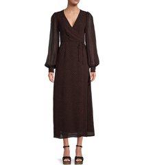 ganni women's printed wrap dress - black - size 38 (6)