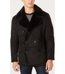 kenneth cole men's faux sherpa collar double-breasted pea coat