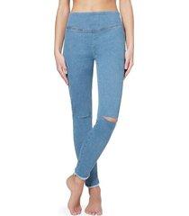 calzedonia ripped denim leggings with frayed hem woman blue size m