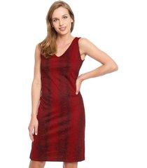 vestido gouache scuba lycra estampada rojo - calce regular