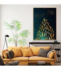 quadro 67x50cm izar peixes dourados moldura natural com vidro