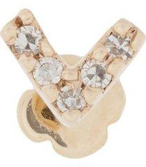maria black 14kt yellow gold diamond velvet labret stud earring