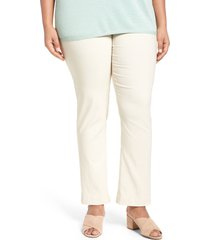 plus size women's nic+zoe 'wonder stretch' high rise straight leg pants, size 22w - beige