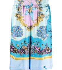 silk sea shell print shorts