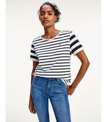 tommy hilfiger women's relaxed fit stripe top navy / white breton stripe - s