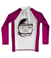 camiseta de lycra comfy more space rosa