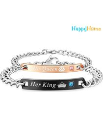 her king his queen couple bracelets stainless steel - couples bracelet chain