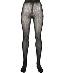 burberry meia-calça com padronagem monogramada - preto