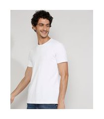 camiseta masculina manga curta básica com elastano gola careca branca