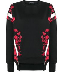 alexander mcqueen embroidered sweatshirt - black