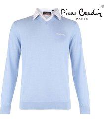 pierre cardin heren v-hals trui met overhemdkraag -licht blauw