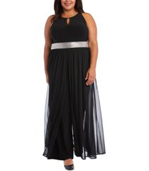 r & m richards plus size wide-leg walkthrough jumpsuit