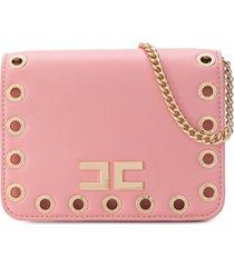 elisabetta franchi la mia bambina bolsa tiracolo com logo - rosa