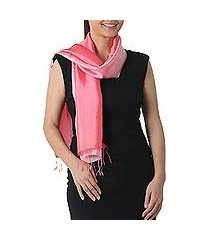 rayon and silk blend scarf, 'shimmering tulip' (thailand)