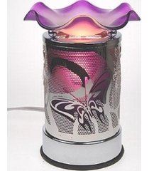 purple etched metal buttefly touch lamp oil/tart warmer - use with scentsy wax