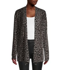 amicale women's animal-print cashmere cardigan - grey multi - size xs