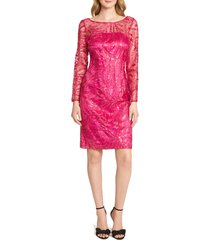 women's tahari embroidered sequin long sleeve cocktail dress
