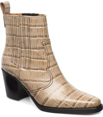western ankle boots shoes boots ankle boots ankle boot - heel beige ganni