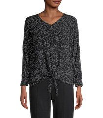 beach lunch lounge women's zayna printed crinkle top - night dots - size xl